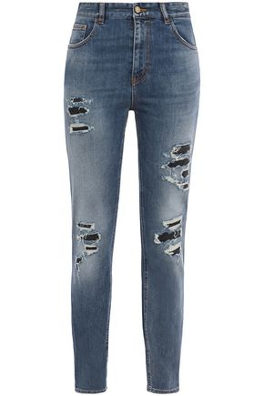 JUST CAVALLI Distressed faded high-rise slim-leg jeans
