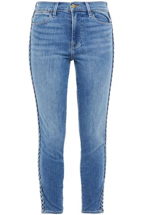 FRAME Braid-trimmed mid-rise skinny jeans