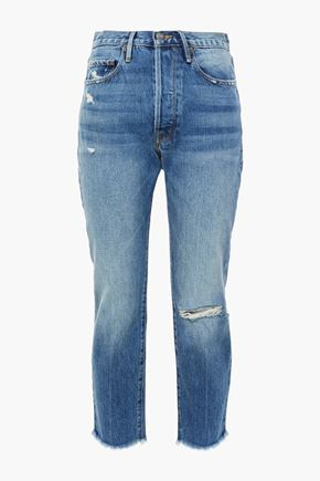 FRAME Cropped distressed high-rise slim-leg jeans