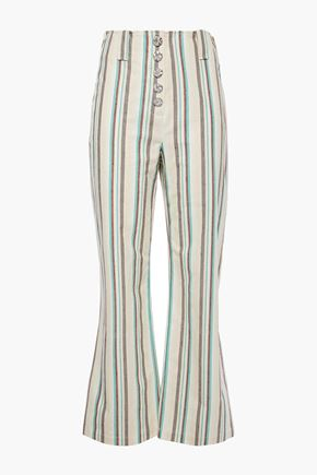 3.1 PHILLIP LIM Snap-detailed striped cotton kick-flare pants