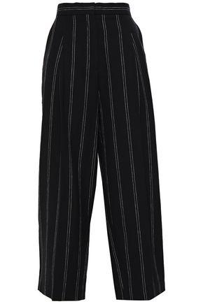 SANDRO Cropped pinstriped linen-blend wide-leg pants