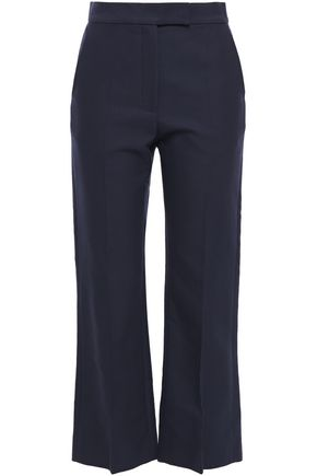 SANDRO Cropped cotton-blend twill straight-leg pants