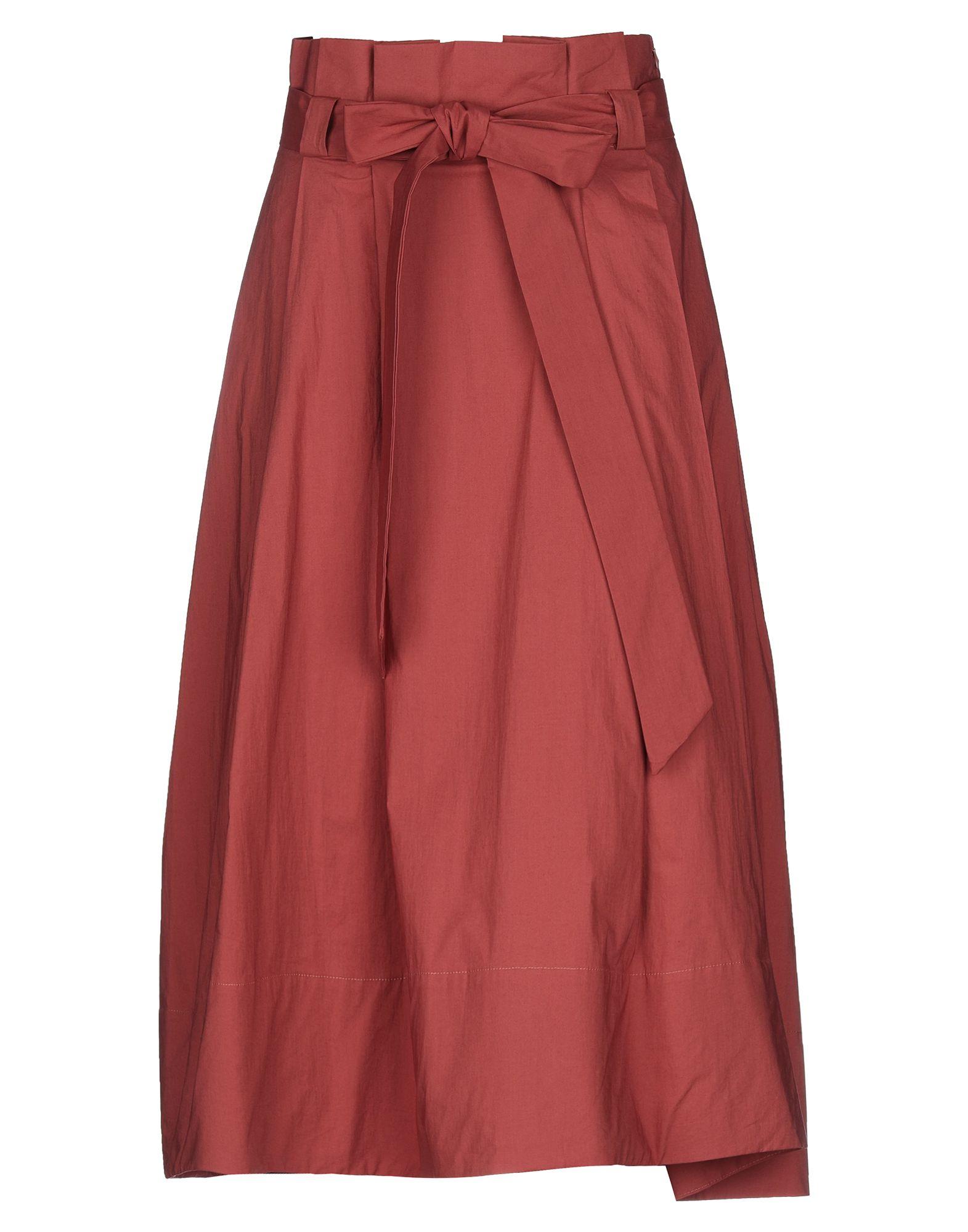 ELEVENTY 3/4 length skirts. plain weave, belt, basic solid color, multipockets, unlined, side closure, zip, stretch. 97% Cotton, 3% Elastane