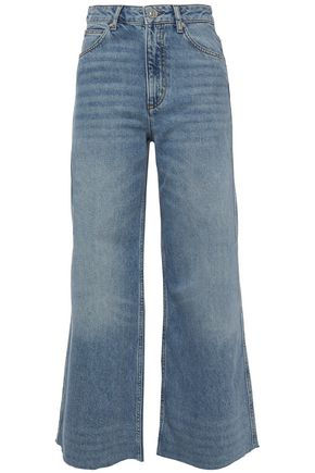 SANDRO Maya cropped high-rise wide-leg jeans