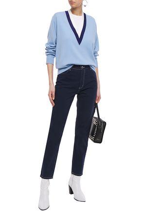 Sandro Celestine High-rise Slim-leg Jeans In Dark Denim