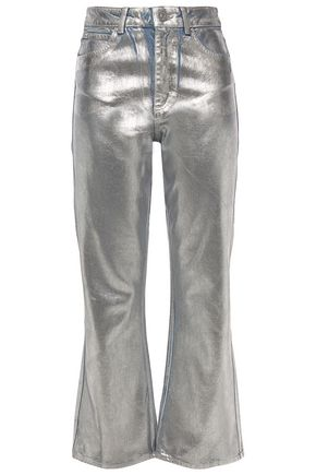 SANDRO Roland metallic coated high-rise flared jeans