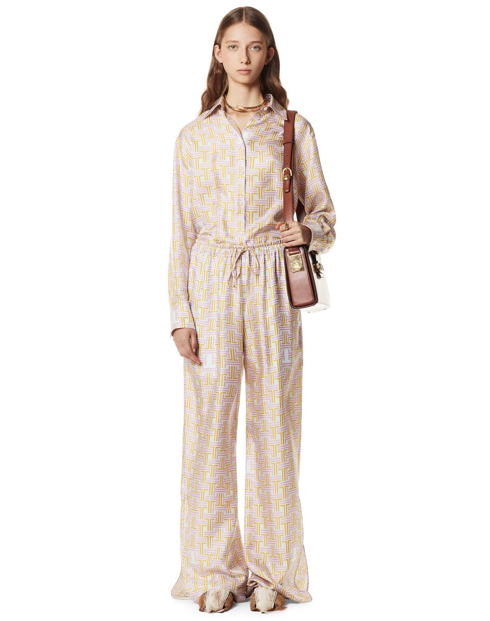 THE MAZE PRINT PALAZZO PANTS IN SILK - Lanvin