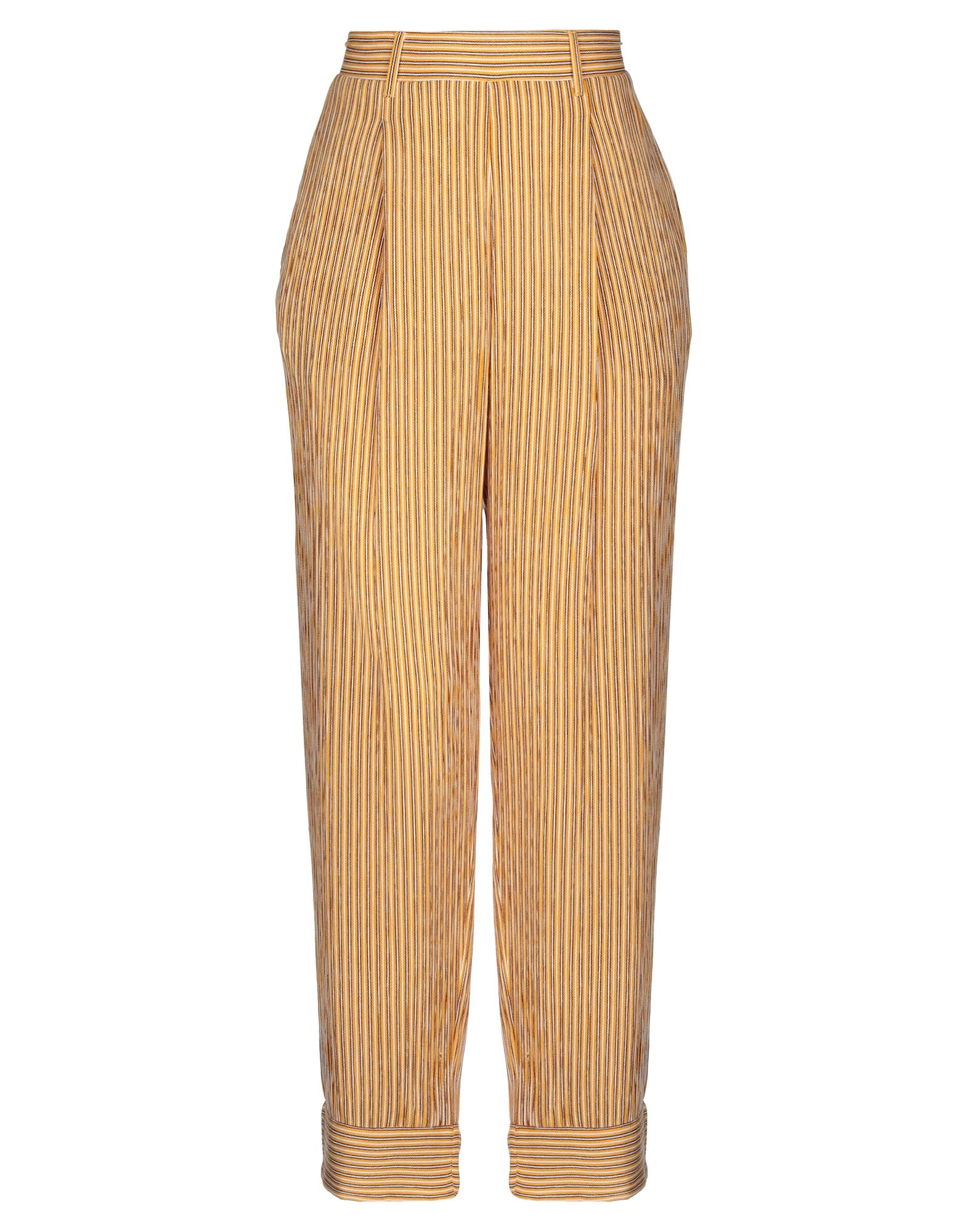 BAND OF GYPSIES Casual pants. crepe, no appliqués, stripes, high waisted, regular fit, straight leg, elasticized waist, multipockets. 100% Viscose