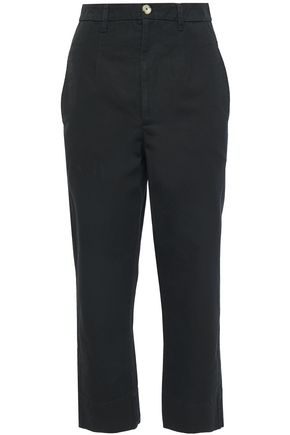 BASSIKE Cropped cotton-canvas straight-leg pants
