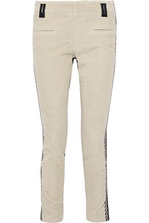 HAIDER ACKERMANN Embroidered cotton-blend corduroy and leather slim-leg pants