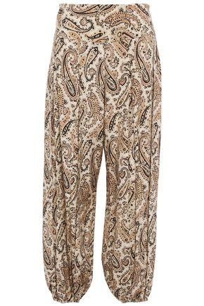 NILI LOTAN Pleated printed silk crepe de chine tapered pants