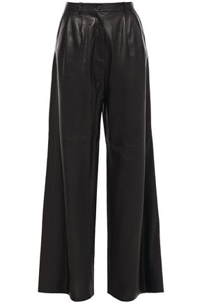 NILI LOTAN Nico leather wide-leg pants