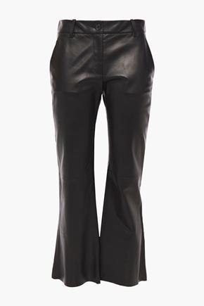 NILI LOTAN Caden leather kick-flare pants