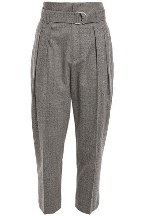 IRO Cropped belted wool-blend tapered pants