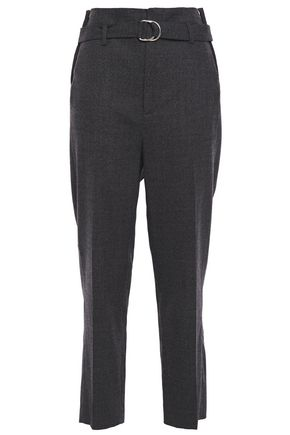 IRO Flood belted mélange bouclé tapered pants