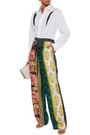OSCAR DE LA RENTA Printed silk wide-leg pants