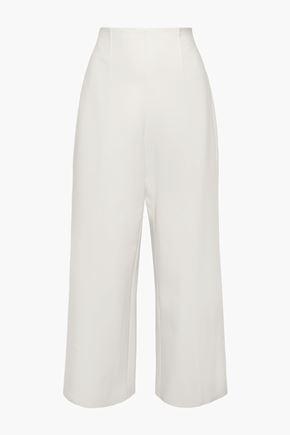 OSCAR DE LA RENTA Wool-blend cady wide-leg pants