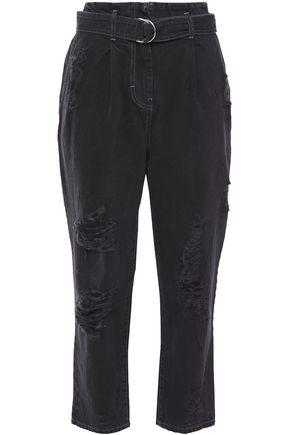 IRO Muylo cropped belted distressed boyfriend jeans