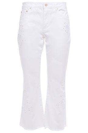 MICHAEL MICHAEL KORS Cropped embellished mid-rise kick-flare jeans