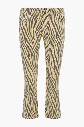 CURRENT/ELLIOTT The Ruby cropped zebra-print low-rise slim-leg jeans