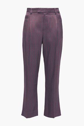 EQUIPMENT Cropped printed satin-twill straight-leg pants