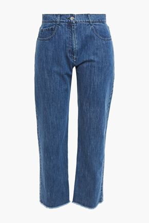 MICHAEL KORS COLLECTION Cropped frayed mid-rise straight-leg jeans
