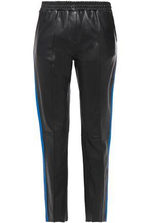 STAND STUDIO Alva striped leather straight-leg pants