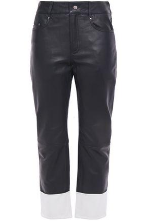 STAND STUDIO Alvina two-tone leather straight-leg pants