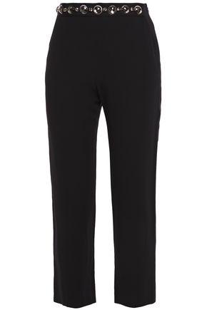 LANVIN Embellished cropped crepe slim-leg pants