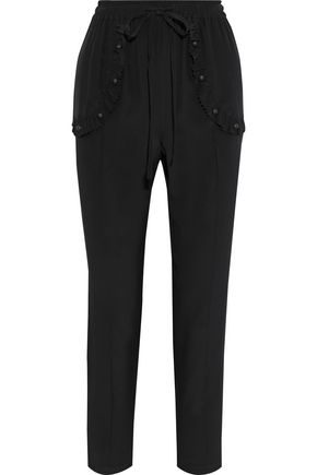 REDValentino Ruffle-trimmed studded silk crepe de chine tapered pants