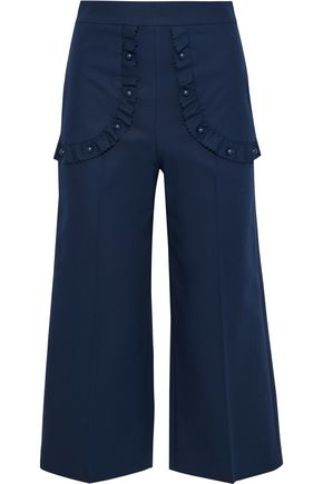 REDValentino Studded ruffle-trimmed stretch-cotton culottes