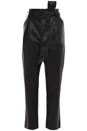 IRO Cropped belted pleated leather tapered pants