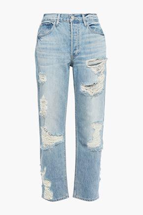 3x1 Distressed mid-rise straight-leg jeans