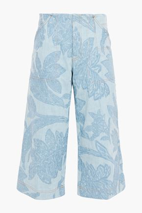 ACNE STUDIOS Cropped embroidered mid-rise wide-leg jeans