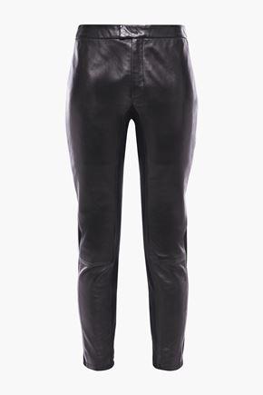REDValentino Stretch jersey-paneled leather slim-leg pants