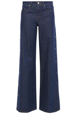 REDValentino Snap-detailed mid-rise wide-leg jeans