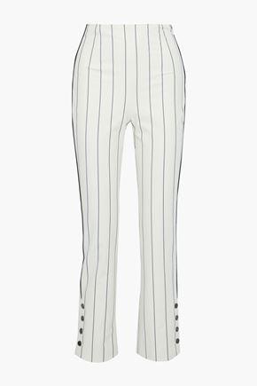 JONATHAN SIMKHAI Button-detailed pinstriped cotton-blend slim-leg pants