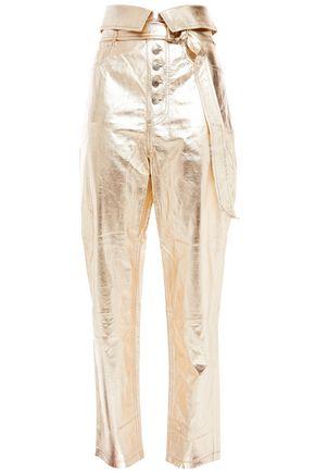 IRO Key fold-over metallic leather straight-leg pants