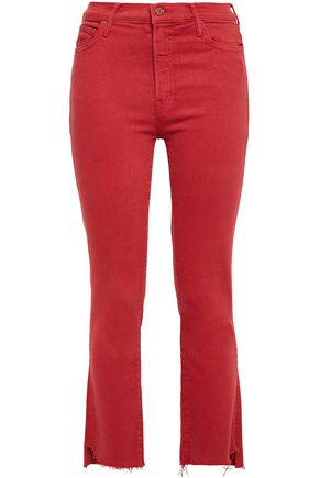MOTHER Cropped frayed high-rise bootcut jeans