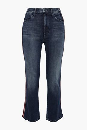 MOTHER The Looker lamé-trimmed high-rise kick-flare jeans