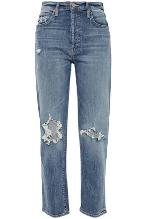 MOTHER The Tomcat distressed mid-rise straight-leg jeans