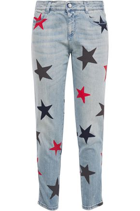 STELLA McCARTNEY Cropped printed mid-rise slim-leg jeans
