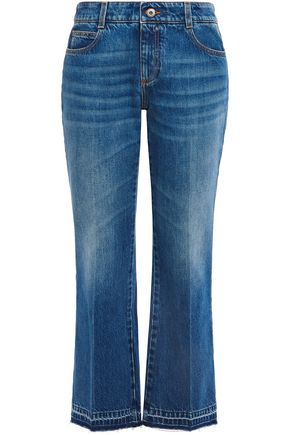 STELLA McCARTNEY Cropped faded mid-rise kick-flare jeans