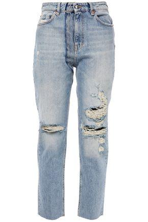 IRO جينز قصير بأرجل مستقيمة مرتفع الخصر وممزّق