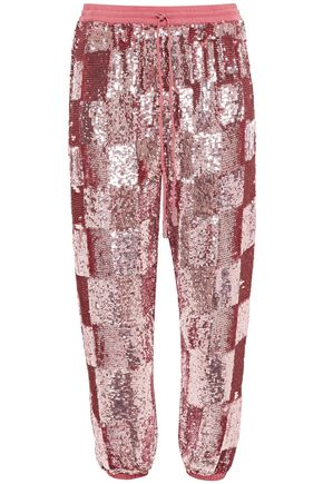 RETROFÊTE Stacia cropped sequined chiffon tapered pants