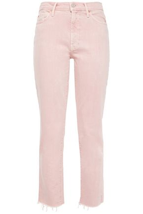 MOTHER Cropped frayed high-rise slim-leg jeans