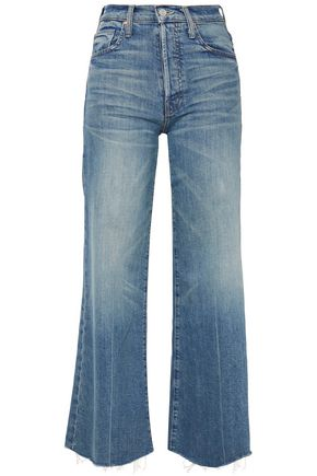 MOTHER Cropped frayed high-rise flared jeans