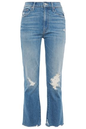 MOTHER The Tripper distressed high-rise kick-flare jeans