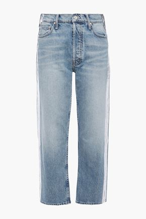 MOTHER The Thrasher cropped coated high-rise straight-leg jeans