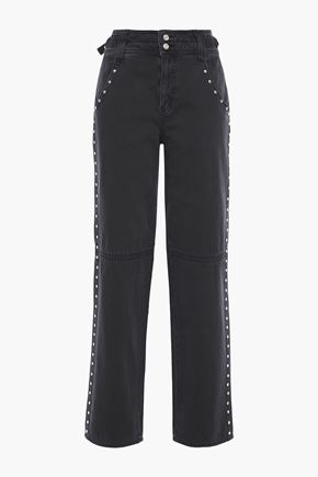 CURRENT/ELLIOTT Debbie studded high-rise straight-leg jeans